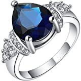 Gorgeous 18K Gold Filled Dark Blue Sapphire Ring Engagement Wedding Jewelry Gift ERAWAN (8 #)