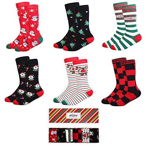 IMOZY Christmas Socks- Colorful Funky Patterned Crew Socks- 6 Pack With Gift Box- Santa Claus and Snowman- Size 9-12Years/Shoe Size Size 2-5