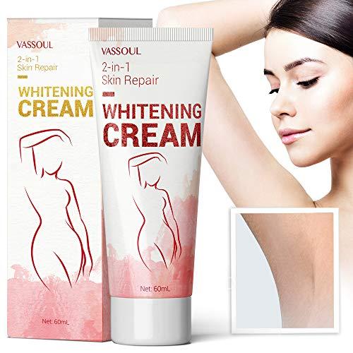 Vassoul Skin Underarm Whitening Cream - Lighten & Brighten Armpit, Bikini, Elbow, Private and Sensitive Areas (60mL)