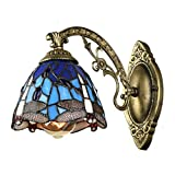BAYCHEER Tiffany Wall Sconce Lighting Mediterranean Wall Sconce Lamp Fixture Dragonfly Adjustable Wall Sconce Blue