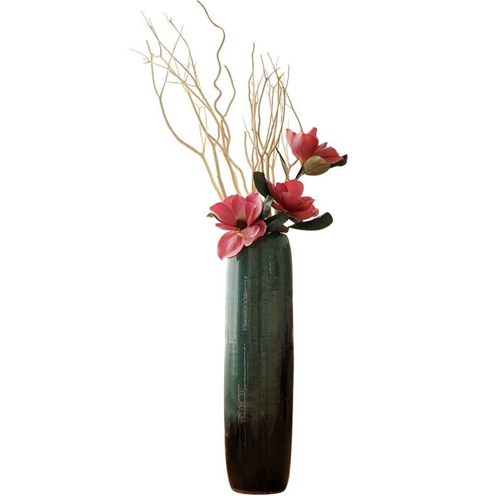 シックな花瓶 背の高いセラミック花瓶AXZHYZ190527005リビングルームの装飾装飾床ポーチ寝室アート磁器ボトル7.8×23.6インチ 写真シックな花瓶シリンダー花瓶、装飾用花瓶 B07S9ZQCFJ