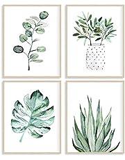Botanical Prints Posters for Bedroom Aesthetic Room Decor, Set of 4, 8x10 Canvas Poster Unframed, Boho Decor Art Print, Bathroom Wall Art Decor, Sage Green Decor