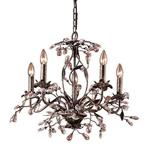 - Elk 8053/5 5-Light Chandelier in Deep Rust and Crystal Droplets
