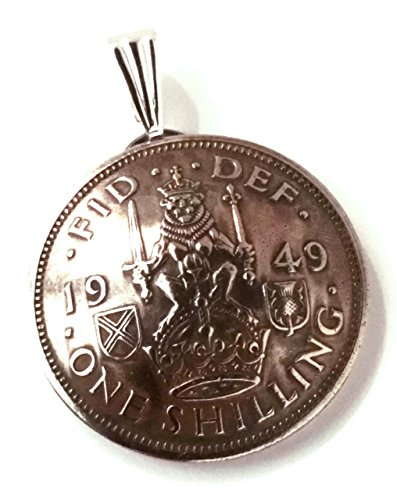Crest Jewelry Pendant (UK Scotland Shilling Coin Jewelry Pendant Vintage Necklace Scottish Crest Lion Crown Thistle Great Britain British English)