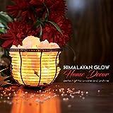 Natural Himalayan Salt Lamp, Tall Round Metal