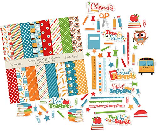 - Die Cuts & Paper Set - School Days - by Miss Kate Cuttables - 16 Single - Sided 12