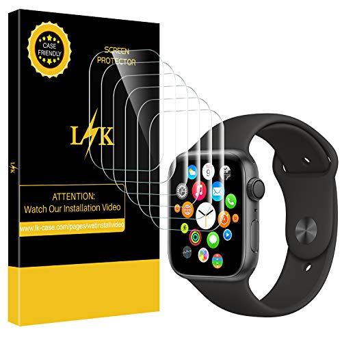 [6 Pack] LK Screen Protector for Apple Watch 40mm / 38mm (Series 4/3/2/1  Compatible), Max Coverage Screen Protector [HD Clear Anti-Bubble Film] with
