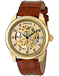Invicta Mens 17188 Specialty Skeletonized Mechanical Hand-Wind Watch with Embossed-Leather Band