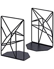 Decorative Bookends, Metal Book Ends Supports for Shelves, Unique Geometric Design, Non-Scratching