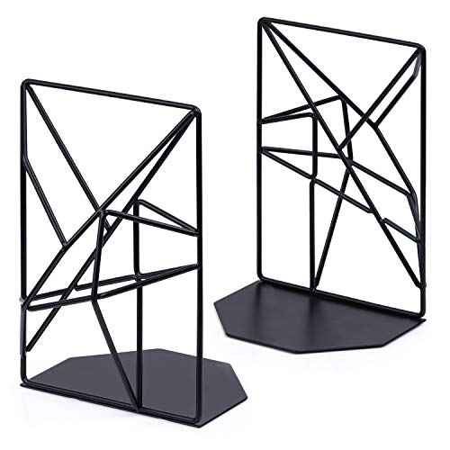 (SRIWATANA Bookends Black, Decorative Metal Book Ends Supports for Shelves, Unique Geometric Design(1 Pair))
