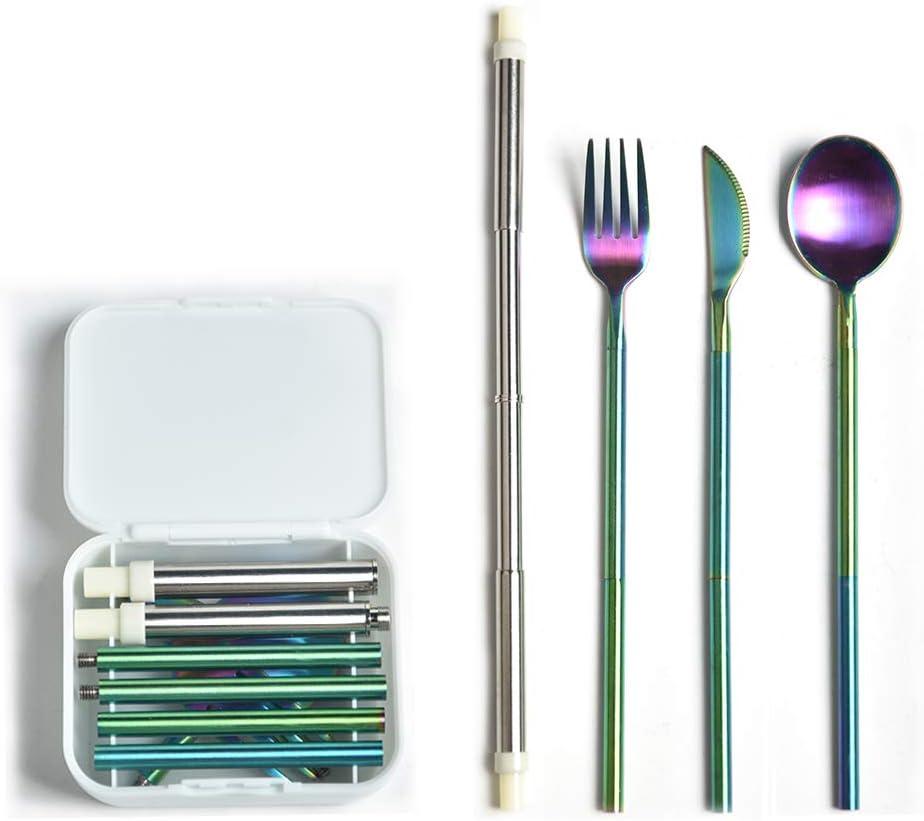 Yassk Pocket Sized Silverware Flatware Cutlery Set, Portable Reusable Stainless Steel Utensils Knife Fork Spoon Straw Cloth Napkin,Dishwasher Safe (Rainbow)
