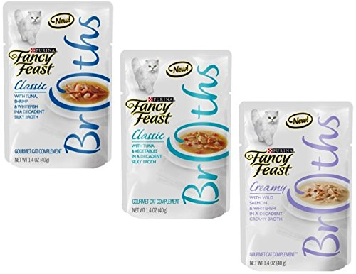 Fancy Feast Broth for Cats Classic Tuna, Shrimp & Whitefish, Creamy Salmon & Whitefish and Classic Tuna & Vegetables, 1.4 Oz Pouch, Pack of 27 by Fancy Feast