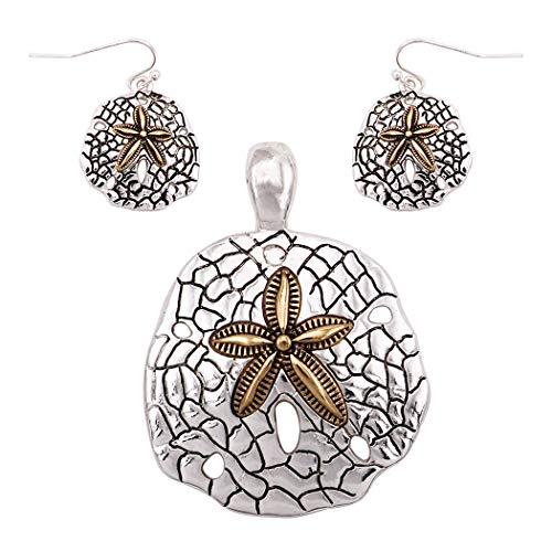 Rosemarie Collections Beautiful Statement Magnetic Medallion Pendant and Earring Set with Free Stainless Steel Chain (Sand Dollar) (Dollar Filigree Sand)
