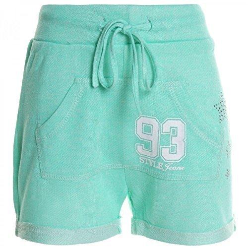 Kinder Mädchen Kurze Hose Bermuda Shorts Sommer Capri Pump Pants Jeans 20361, Farbe:Grün;Größe:164