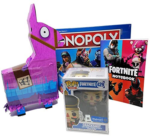 Ultimate Fortnite Christmas Bundle: Fortnite Monopoly, Exclusive Crackshot Pop Funko #429, Fortnite Llama Drama Loot Pinata with 23 Pieces, and Heroes Edition Notebook for Strategy