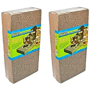 (2 Packages) Ware Manufacturing CWM12003 Corrugated Replacement Scratcher Pads Double Wide - 2 Pads per Package 3