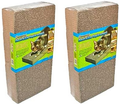 (2 Packages) Ware Manufacturing CWM12003 Corrugated Replacement Scratcher Pads Double Wide - 2 Pads per Package