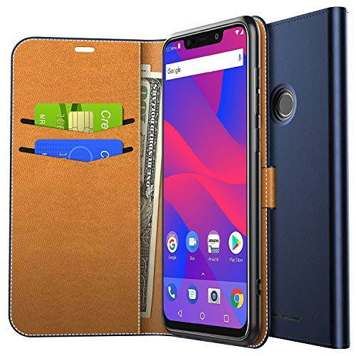 Yocktec Case for BLU VIVO XL4, Ultra Slim Premium PU Leather Flip Wallet Case with Card Pockets and Kickstand Feature for BLU VIVO XL4 Smartphone (Blue)