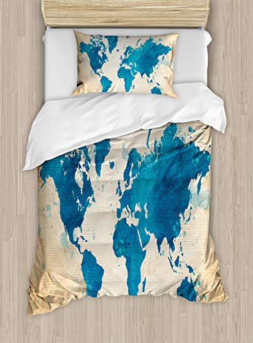 Ambesonne Map Duvet Cover Set, Vintage World Map with Watercolor Brushstrokes on Old Backdrop Print, Decorative 2 Piece Bedding Set with 1 Pillow Sham, Twin Size, Brown Navy