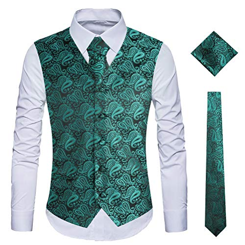WULFUL Men's 3pc Paisley Vest Necktie Pocket Square Set for Suit or Tuxedo (Green, XXL(chest51)