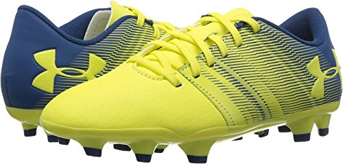 (Under Armour Spotlight DL Jr. FG Soccer Shoe, Tokyo Lemon (300)/Moroccan Blue, 1.5)