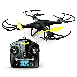 Force1 U45 Altitude Hold RC Quadcopter Drone with HD Camera, 4GB SanDisk Micro SD Card and Battery, Black Yellow