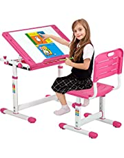 Kids Desk Children Desk Drafting Desk Height Adjustable Computer Student Desk Study Table with Tilted Desktop Pull Out Spacious Storage Drawer Writing Desk for Studying Reading and Drawing (Pink)