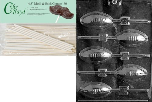 Cybrtrayd 45St50-S026 Football Lolly Sports Chocolate Candy Mold with 50-Pack 4.5-Inch Lollipop Sticks ()