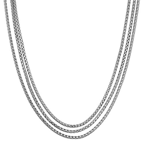 Strand Popcorn (Sterling Silver Triple Strand Popcorn Chain Necklace (24 inch))