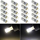 GOTD 10pcs Set Light Crystal Bulb Lamps, Dimmable G4 24 Leds 3014 Chip Silicon Lamp 3W 360 Degree Non-polar, Incandescent Bulb Replacement LED Bulbs (Warm White)