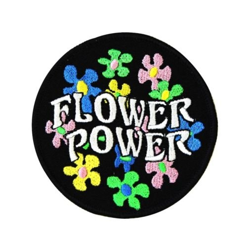 60s Hippie Daisy '',Flower Power'', Iron-On Patch DIY Costume Apparel Craft Applique for Accessories - Bags/Purses, Apparel - Coat/Jacket, Apparel - Jeans/Pants, Children, Crafts by SayrusPlay