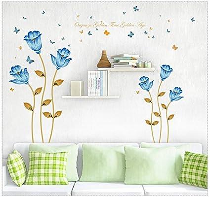Adhesivos de pared flores planta salón dormitorio sofa cama ...