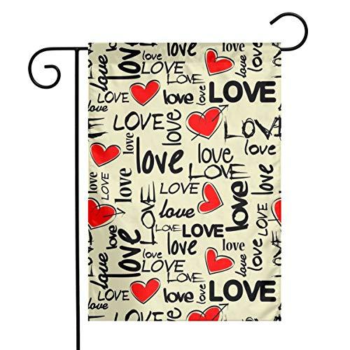 UZQKWFThLX Polyester Garden Flag Love Heart House Flag