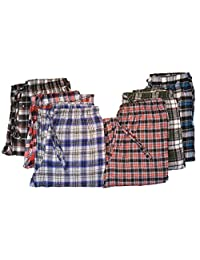 Men's Dyed Yarn Pajama Bottoms - 4 Pack of Assorted Plaid Designs