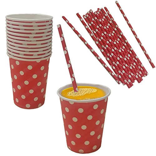 Red And White Polka Dot Paper Cup And Straw Set- Pack Of 24- Includes 12 Polka Dot Cups And 12 Polka Dot Straws. Great for Parties, Birthdays, Holidays And Much -