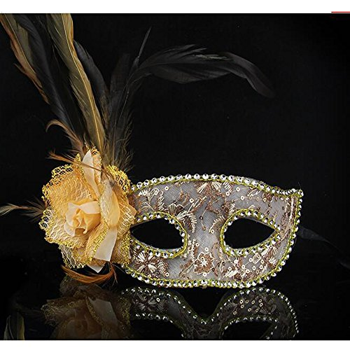 Roman Greek Costume Cuts (Dongcrystal Feather Masquerade Venetian Flower Mask Costumes Party Mask - Golden)