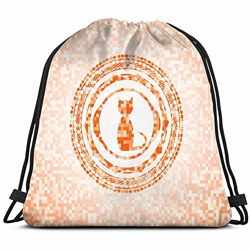 cat icon inside orange mosaic adorable Drawstring Backpack Gym Sack Lightweight Bag Water Resistant Gym Backpack for Women&Men for Sports,Travelling,Hiking,Camping,Shopping Yoga