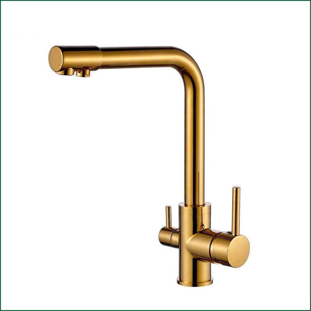 100% de cobre acabado en oro giratorio agua potable grifo 3 vías ...