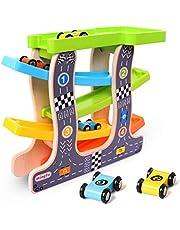 Jacootoys Wooden Ramp Race Track Zig Zag Car Slider Playset Gliding Toy