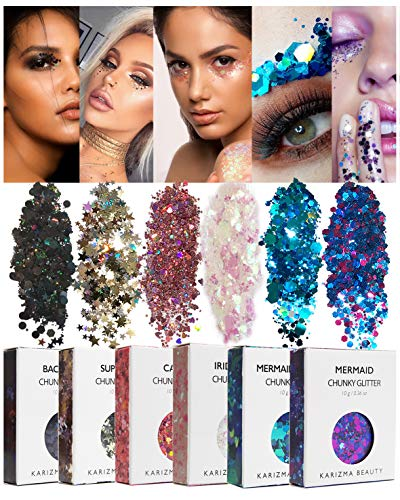 - Face Glitter Pack ✮ KARIZMA Beauty ✮ 60g Festival Glitter Cosmetic Chunky Face Body Hair Nails