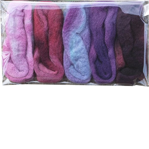 Needle Felting Roving Fiber for Felting Spinning Weaving Dryer Balls Soap Making and Embellishments. Color Sampler Pack of BFL Wool Hand Dyed in USA by Living Dreams. Purple Haze