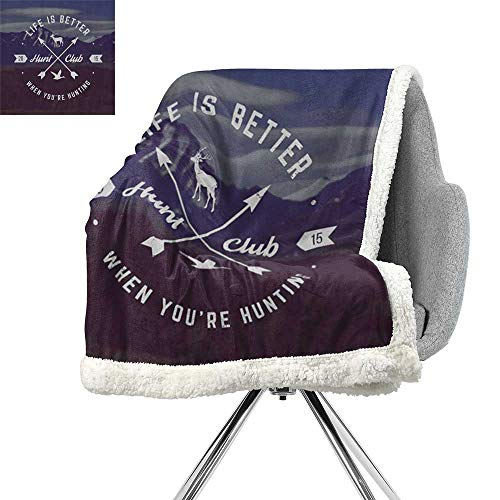Hunting Decor Lightweight Blanket,Grunge Hunt Club Emblem with Arrows Motivating Quote Mountains Backdrop,Brown Blue White,Warm Breathable Comforter for Girls Kids Adults W59xL78.7 Inch