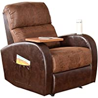 soges 535-VC-BR Memory Foam and Leather Recliner Chair, Brown