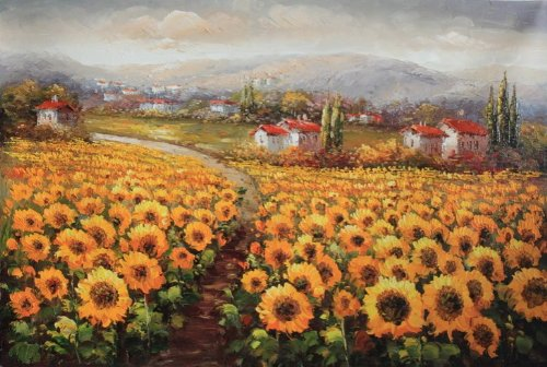 Modern Oil Painting on Canvas Wall Art Home Decoration French Landscape Sunflower Field Vineyard 20 X 24 Inch - Tuscany Oil Painting