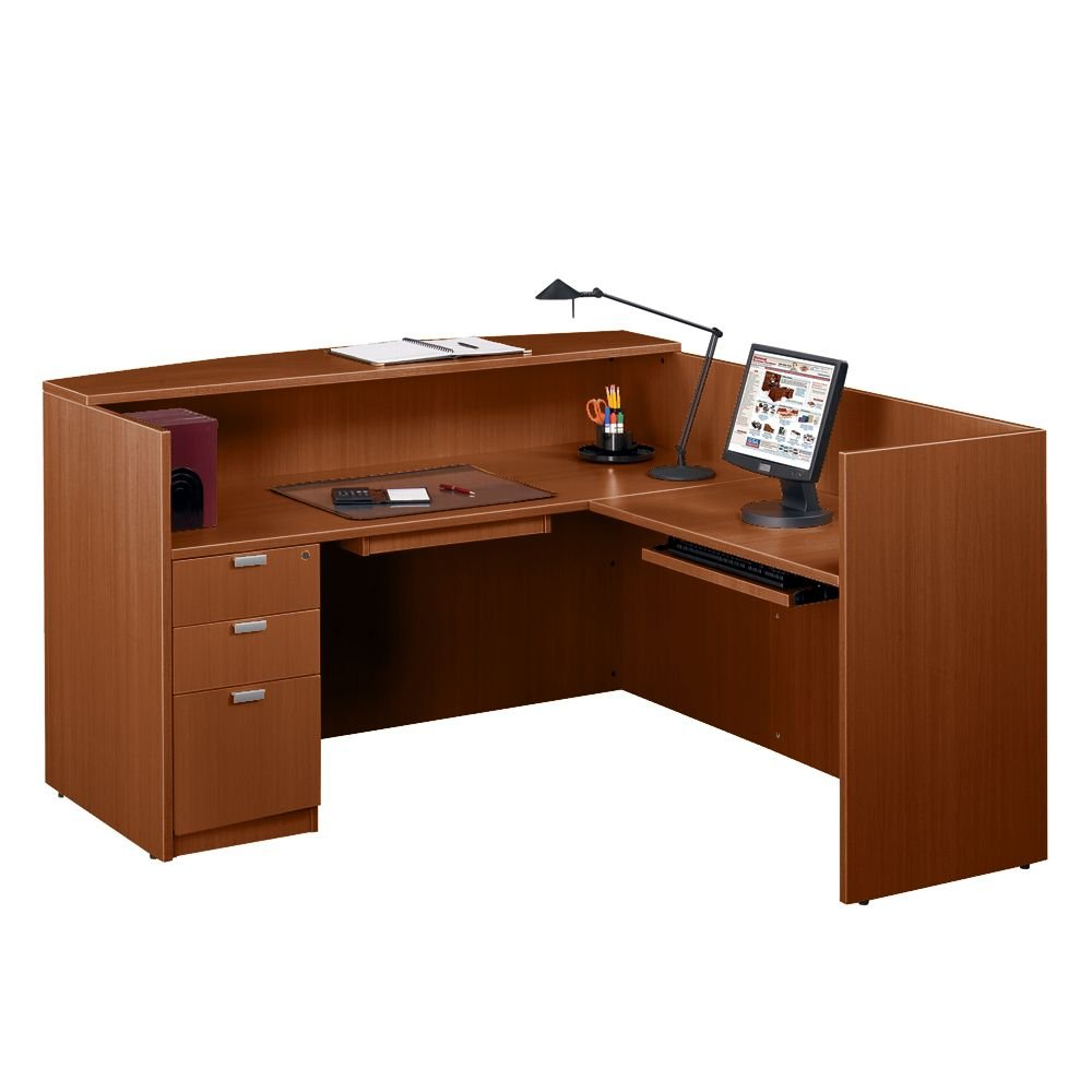 Contemporary Reception L-Desk - 71''W American Dark Cherry Dimensions: 71''W x 72''D x 42''H Weight: 416 lbs.