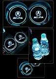 Automotive : Bearfire Car Logo LED Cup Pad led cup coaster USB Charging Mat Luminescent Cup Pad LED Mat Interior Atmosphere Lamp Decoration Light (Acura)