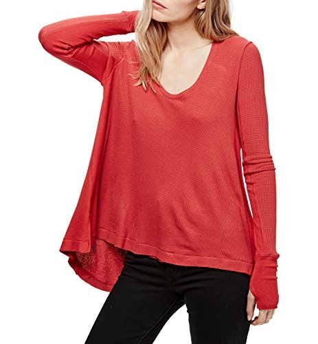 We The Free Womens Hi-Low Thermal Pullover Top Red S