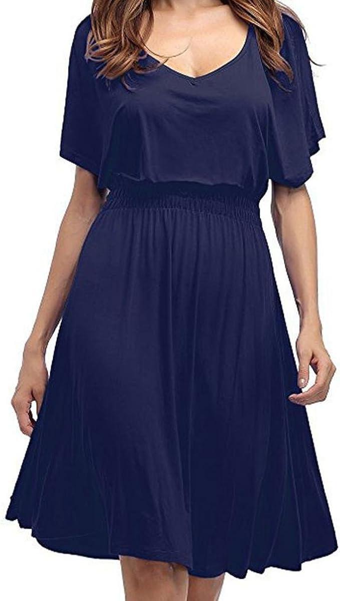 Kolylong® Kleid Damen Frauen Elegant V-Ausschnitt Kurzarm Kleid