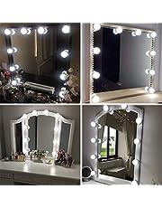 Vanity Spegellampor kit Hollywood-stil LED-sminklampor med 10 dimbara glödlampor för sminkbord med 5-nivåers justerbar ljusstyrka touch dimmer