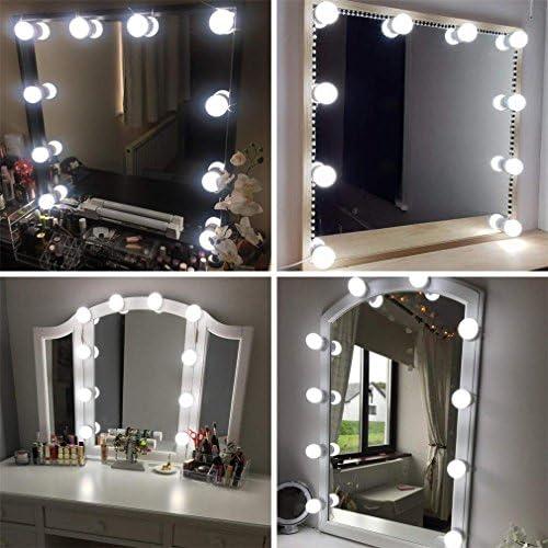 MYS BEAUTY LED Vanit/à Luci a Specchio con 4 Dimmerabile Lampadine Stili di Hollywood Trucco Kit Luci Specchio Ventosa Riempi la Luce per Il Bagno Camerino Vanity Table